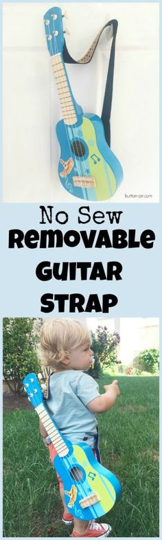 Do you have a budding guitarist? If you do, this no sew removable guitar strap is a great way to help them safely carry it around. It breaks away so it isn't a choking hazard.
