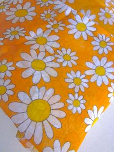 Vintage 1970s Orange Daisy Curtains by Pommedejour on Etsy, $30.00