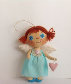 October gifts-Doll Angel-Soft Doll-Miniature doll-Angel-Cloth art doll-OOAK doll-Textile doll-Stuffed doll-Fabric doll-Collecting doll-Gift