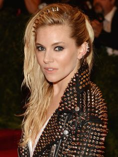 Met Ball Top 10: Sienna Miller http://beautyeditor.ca/2013/05/09/10-celebs-who-pulled-off-the-met-balls-punk-theme-and-brought-us-some-fresh-new-beauty-inspiration/