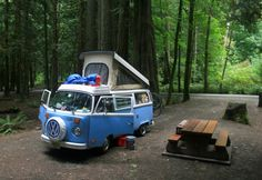 Van-life: '79 VW Transporter Camp Mobile Location: Goldstream Park, Vancouver Island (2011) Photo: Gio Zanecchia