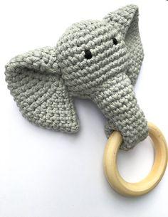 Grey Crochet Elephant Teething Ring By - Purchased Crochet Pattern - (etsy) Crochet Baby Toys, Crochet Amigurumi, Crochet Gifts, Cute Crochet, Crochet For Kids, Crochet Animals, Baby Knitting, Crochet Elephant Pattern, Crochet Patterns