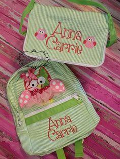 Tutu owl Lime seersucker backpack and lunch box set-lime,green,seersucker,backpack,toddler,lunch box,school,snack,owl,tutu,3d,applique,monogrammed