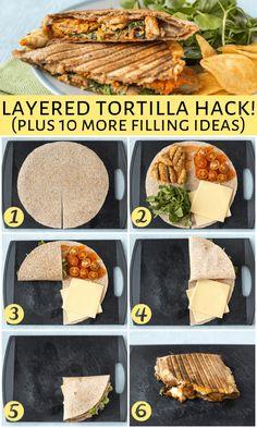 Mexican Food Recipes, Vegetarian Recipes, Cooking Recipes, Healthy Recipes, Tortilla Wraps, Tortilla Recipes, Wrap Recipes, Diy Food, Food Hacks