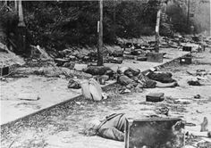 German refugees lie dead after they were caught in the open during an air raid. Civilian casualties rose steadily in Germany as the Allies expanded their use of air power against cities. Postwar, many German historians raised the question of war crimes because of this air war, a question that remains current.