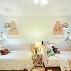 Shared Kids Room with Gray Corner Daybeds