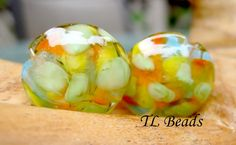 Handmade Confetti Lentil Lampwork Glass Bead Set for by TLBeads, $12.00