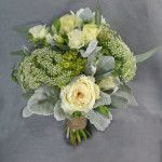natural organic feel ivory and green garden roses queen annes lace and silver dusty millar calgary wedding flowers bridal party bouquet