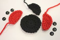 Ladybug Crochet Applique Patterns | Magic ring, 12 DC in ring, join to first DC, chain 2
