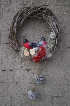 Страна  декоративных венков: Новогодний венок на дверь, эко-стиль