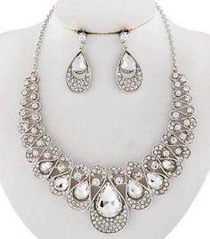 STYLISH CHIC Silver Swirl Design Clear Crystal Wedding Bridal Formal Necklace #Uniklook
