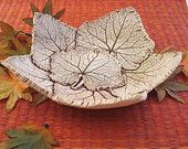 Ceramic Leaf Bowl Made with Real Cucumber Leaves - Keys, Jewelry or Ring Bowl - Clay Catch All Dish -Table Decoration - Gift for Leaf Lover