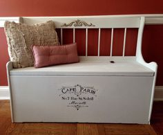 Vintage Childrens Storage Bench Annie Sloan Custom Color by ColorfulHomeDesigns on Etsy