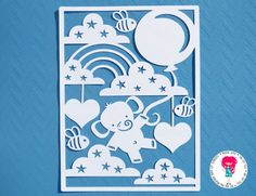Elephant New Baby Papercut SVG / DXF Cutting File For Cricut