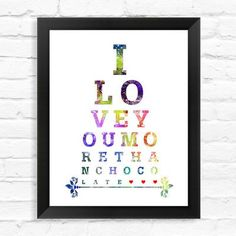 "Dignovel Studios Eye Chart I Love You More Than Chocolate Watercolor Framed Graphic Art Size: 15"" H x 12"" W x 1"" D"