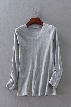 Z618 外贸女装 冬季新款百搭纯色修身螺纹圆领长袖针织衫打底衫