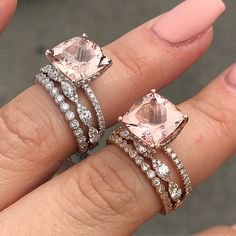 Are You Team White Gold or Team Rose Gold? ❤️(5 carat Morganite ring is $1,399. Middle diamond band is $599. Bezel diamond band is $299)