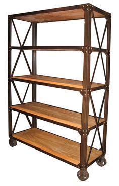 tall Bookcase Elm wood 5 shelves rusty metal on coasters industrial vintage Metal Storage Shelves, Rolling Shelves, Metal Bookcase, Modern Bookcase, Etagere Bookcase, Bookcase Shelves, Wood Shelves, Book Storage, Display Shelves