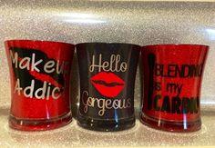 Glitter Makeup brush holder makeup holder vanity organizer - make up jars - Makeup Brushes Diy Makeup Glitter, Glitter Make Up, Glitter Crafts, Glitter Cups, Glitter Eyeliner, Glitter Hair, Makeup Brush Case, Makeup Brushes, Vinyl Crafts