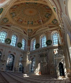 """Ortaköy Mosque, Turkey - In the interior of the mosque, there are wide, """"high bay windows"""" which refract its reflection in water as well as daylight."""