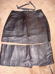 A thrift store leather skirt turned into a leather shopping bag!