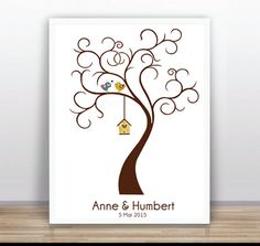 Thumbprint Tree Guest Book Poster PRINTABLE Baby by ByYolanda