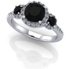 black diamond white diamond engagement ring,style 95WDBL ($1,625) ❤ liked on Polyvore featuring jewelry, rings, anel, black diamond engagement rings, black diamond ring, black white diamond ring, black and white jewelry and white diamond ring