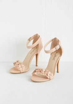 All Fleur You Heel in in Seashell - High, Faux Leather, Tan, Solid, Flower, Prom, Wedding, Darling, Spring, Good, Variation