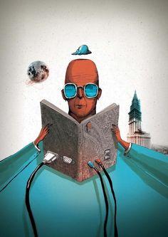 made by: Sedat Girgin , illustration - (Electronic book reader)