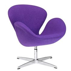 Mid Century Style Swivel Accent Chair in Premium Purple Wool Fabric