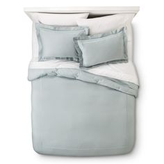 Wrinkle Resistant Verona Embroidery Duvet Cover Set (Target) grey, ivory, spa blue, white $60 w shams