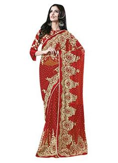 Red Net N Satin Embroidered Saree