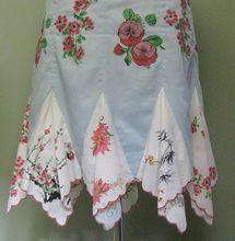 Vintage Handkerchief Hem Skirt, Cotton Floral & Lined