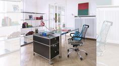 Design-Schreibtisch Tisch Arbeitstisch 160x80 cm mit Glasplatte 160 x 80 cm Klarglas und polierten Kanten Rollcontainer große Ausführung  Bueromoebel Metall mit 3 Metall Schubladen