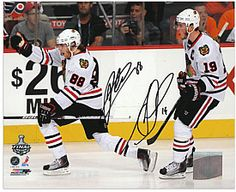 $400 Mounted Memories Chicago Blackhawks Patrick Kane & Jonathan Toews 2010 Stanley Cup Champions Autographed 8x10 Photo - Shop.NHL.com