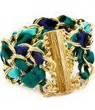 Heidi Italian Turquoise Fabric Golden Tone Chain Bracelet