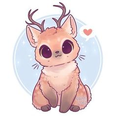 Kawaii cat with reindeer horns? Or kawaii cat and reindeer fusion? That sounds great! :D let's stick with Kawaii catdeer! Cute Kawaii Animals, Cute Animal Drawings Kawaii, Kawaii Art, Anime Kawaii, Cute Baby Animals, Kawaii Chibi, Deer Drawing, Drawing Drawing, Chibi Drawing