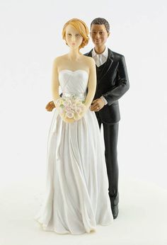 Interracial Bride and Groom Cake Topper $28.95 | Wedding stuff ...