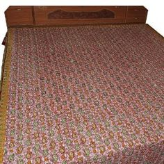 Red Bed Sheet Handmade Cotton Floral Block Printed Design from India Queen Size
