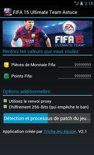 FIFA 15 Ultimate Team Triche est un programme grâce auquel le jeu est toujours agréable. À ce jour, ont bénéficié de plus de 100.000 utilisateurs.  http://trichejeu.com/fifa-15-ultimate-team-triche/