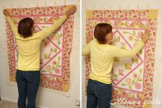 how to baste a quilt on the wall ... step by step photos