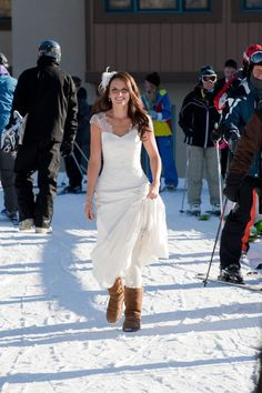You can't have a winter wedding without Uggs, can you?! Real bride Kelly looks stunning in her Elizabeth de Varga 'Ava' gown #LetItSnow    www.devarga.com.au