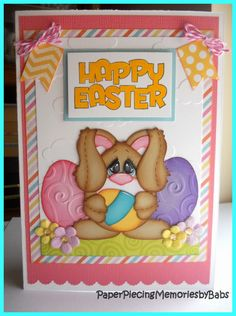 Happy Easter (pink) paper pieced bunny card created by PAPER PIECING MEMORIES BY BABS, pattern by KaDoodle Bug Designs
