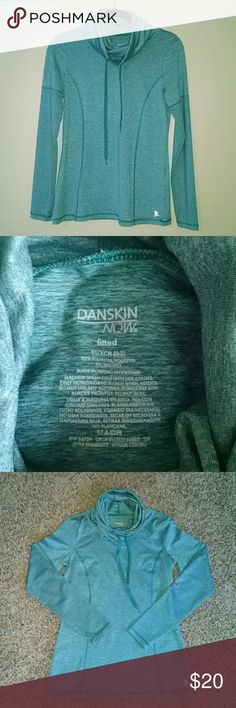 """DANSKIN NOW Dri-Fit Cowl Neck Long Sleeve Pullover Greenish Blue Looks New (no stains, pilling, snags) XS (0-2) 92% Polyester, 8% Spandex Fitted Lightweight Smoke Free, Pet Free Back length 24.5"""", armpit to armpit 16"""", sleeve length 24"""", cowl length 14"""" Danskin Now Tops Tees - Long Sleeve"""