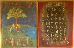 An example of Fourth Grade Curriculum. Human and Animal and Norse Mythology. The student's names on their desks are written in Norse runes.