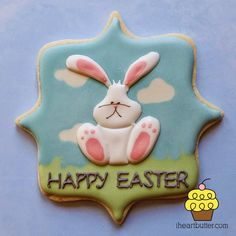 Easter Bunny sugar cookie decorated with royal icing from I Heart Butter