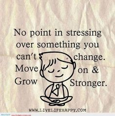 No point in stressing over something you can't change. Move on & grow stronger. Lord, give me the serenity to accept the things I cannot change, the courage to change the things I can, & the wisdom to know the difference. (Serenity Prayer)