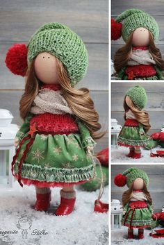 Handmade soft doll, red, green colors, doll for girl, Baby doll, Collectable doll, Fashion doll, Art doll