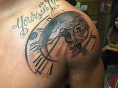 Tattoo clock with font on shoulder - http://tattootodesign.com/tattoo-clock-with-font-on-shoulder/ | #Tattoo, #Tattooed, #Tattoos
