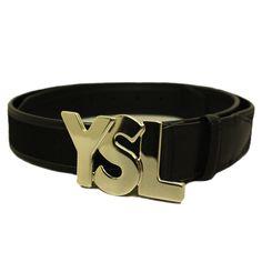 YSL Designer Men's Black Leather Belt with Gold YSL Logo ...